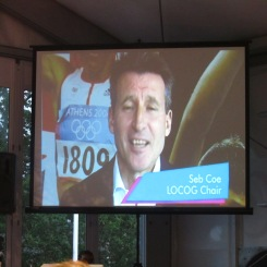 Sir Seb Coe giving a personal welcome message to all the athletes at the Eton Dorney Olympic Village