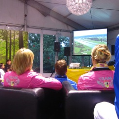 Chilling with the athletes to watch the Opening Ceremony