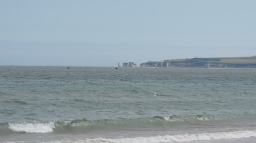 The view of Old Harry Rocks from Sandbanks Beach