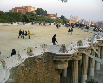 On the terrace of Park Guell beside the beautifully mosaiced sea serpent beach where I was serenaded at sunset. Taken before the days they charged admission onto the terrace.